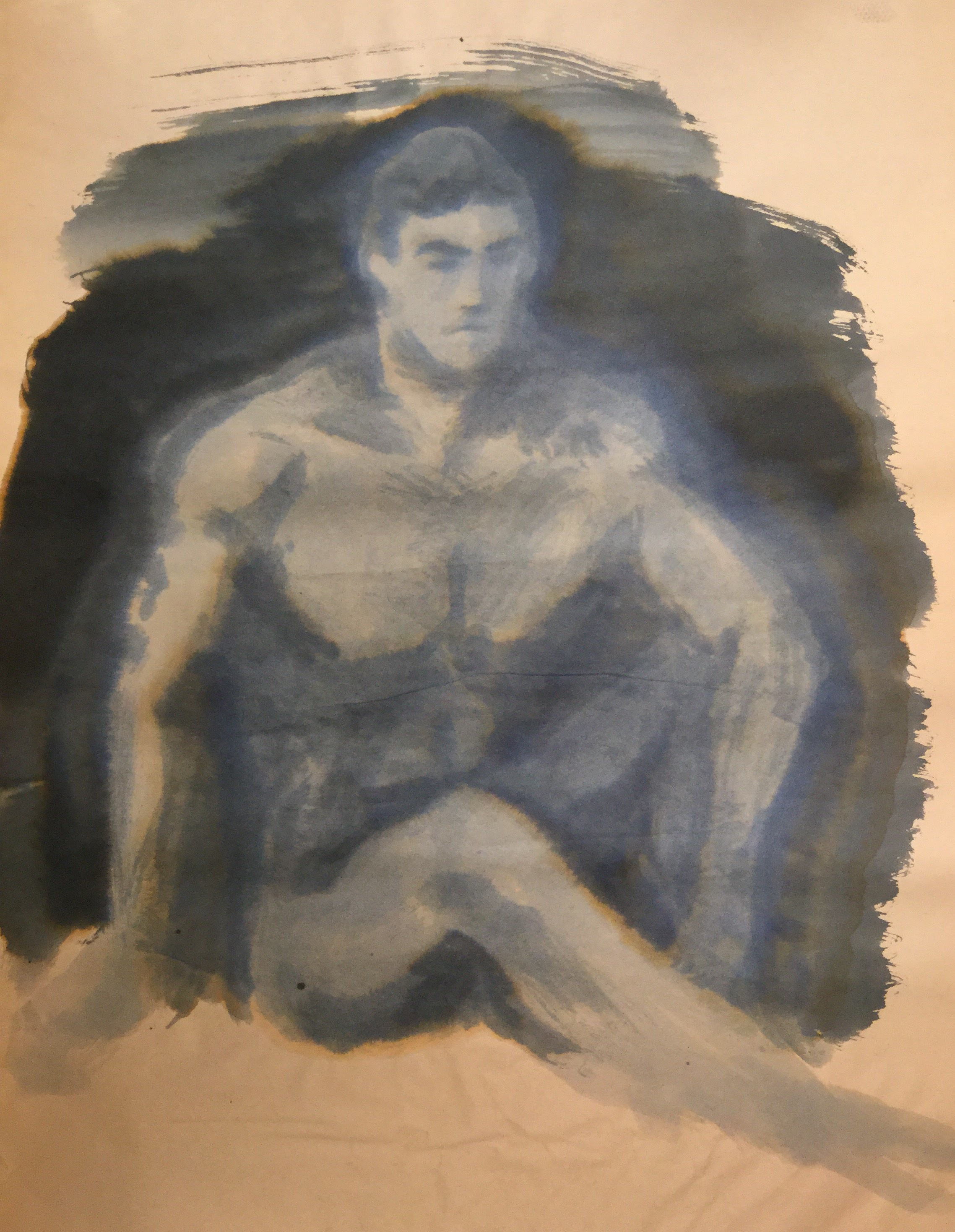 Watercolor Nude Male 02